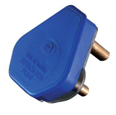 PWR-D-B-PLUG Crabtree 3 prong Blue dedicated plug top